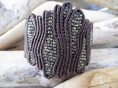 Brown luxurious jewelry,Macrame jewelry,Adjustable,Wide macrame,One of a kind coral macrame,Knotted wide bangle, metallic waxed thread