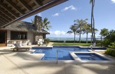 A pool overlooking the ocean in a historical Honolulu home.  #Hawaii #Pool #Design