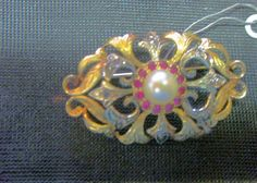 Art Deco 18k Yellow and White gold Brooch with Pearl & Rubies