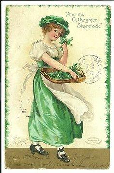Ellen Clapsaddle O the green Shamrock St Patricks Day Irish  Postcard
