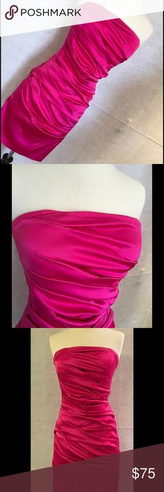 """Cache Size 4 pink strapless dress Cachè bright pink strapless dress - size 4. Approx measurements when laying flat (stretchy not stretched out)  13.5"""" across the bust, 12.5"""" across the waist, 15"""" across the hips. Cache Dresses Strapless"""
