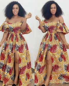 African Dress Ankara Dress Off shoulder Maxi Dress African African Fashion Designers, African Inspired Fashion, African Print Fashion, Fashion Prints, Latest African Fashion Dresses, African Dresses For Women, African Attire, Moda Afro, Ankara Gown Styles