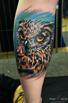 Realistic owl tattoo by Constantin Azoitei