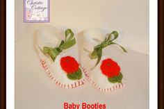 Baby Shoes, Booties, Baby Girl White Felt, Vintage Appliques - By Christie Cottage Baby Booties, Baby Shoes, Handmade Baby, Handmade Gifts, Last Minute Christmas Gifts, Baby Wedding, Flower Applique, Vintage Gifts, Vintage Flowers
