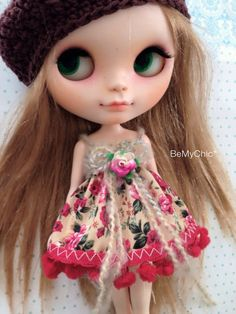 Blythe Dress Pullip Dal Dress Knit & Cotton floral Short Dress