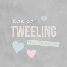 Felicitatie tweeling kalk tekst - Felicitatiekaarten - Kaartje2go