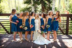 Beautiful blue bridesmaid dresses for a mountain wedding