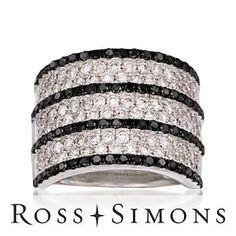3.00 Black and White Diamond Ring In 18kt White Gold. Size 7 white and black diamond rings