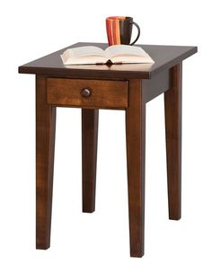 Amish Handcrafted Shaker End Table These Shaker End Tables are shown in brown maple wood with a rich tobacco stain.Create contrast in your living room by pairing them with a light colored coffee table. Family Room Furniture, Amish Furniture, Woodworking Furniture, Furniture Making, Small Accent Tables, Small End Tables, Sofa Table With Drawers, Shaker Style Furniture, Furniture Collection