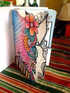 Art journal: Original pinner sez: one of my pages from Valerie Sjodins workshop http://valeriesjodin.com/mini-online-workshop-embellishing-edges-text/