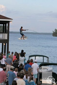 Barefoot starting from a 20' jump, Cleves Ski Show
