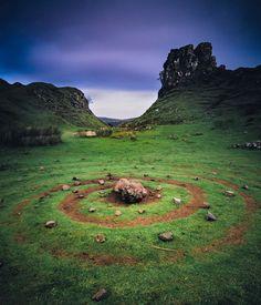 Stone circle beneath Castle Ewen, Fairy Glen, Glen Uig, Uig, Trotternish Peninsula, Isle of Skye, Hebrides, Scotland, UK.