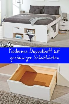 """The low-priced drawer double bed """"Gothenburg"""" with its four universal drawers is a true storage space wonder. Diy Storage Bed, Bed Frame With Storage, Attic Storage, Storage Spaces, Baby Furniture, Bedroom Furniture, Furniture Design, Furniture Ideas, Multipurpose Furniture"""