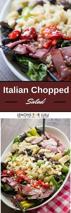 This Italian chopped salad is bursting at the seams!  It is loaded with meats…