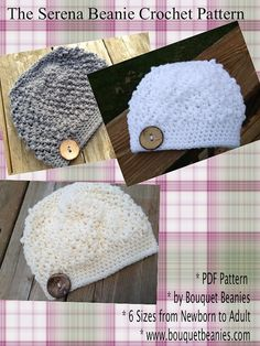 PDF Crochet Pattern - The Serena Beanie Hat Crochet PATTERN