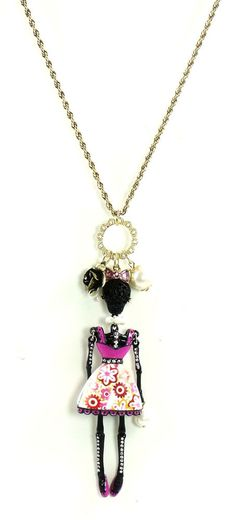 Authentic Betsey Johnson Jewelry Lace Skull Long Skeleton Necklace Black NWT