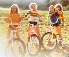 Riding bikes all around the neighborhood with friends.