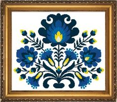 The Polish Folk Art Blue cross stitch pattern brings us a taste of the Polish culture and their works of art.