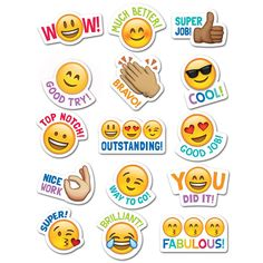 Students will love these Emoji stickers! Sweet and silly emoji faces along with their rewarding phrases will encourage children with social media and digital style. Approximately x 75 stickers per pack, bundle of 12 packs, 900 stickers total Stickers Emojis, Teacher Stickers, Reward Stickers, Planner Stickers, Classroom Rules, Classroom Displays, Classroom Themes, Colegio Ideas, Message Of Encouragement