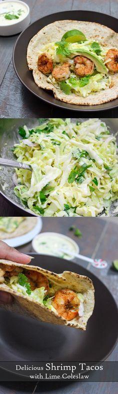 tacos de camarones con ensalada de col