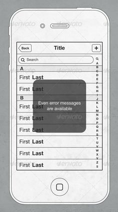 iPhone 4 UI Wireframe Set
