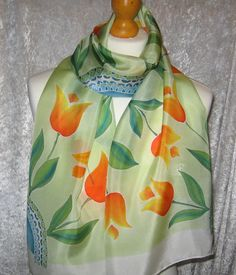 Spring Tulips  hand painted silk scarf