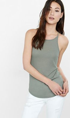express one eleven ribbed high neck tunic tank
