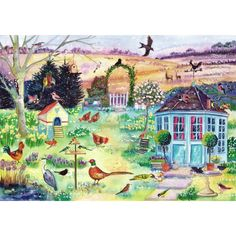 """""""Garden in Spring"""" - Julia Rigby's lively images always make popular and any avid would be pleased to add this gorgeous scene to their collection. Wooden Puzzles, Jigsaw Puzzles, Bold Colors, Colours, Contemporary Art, Scene, Watercolor, Seasons, Activities"""