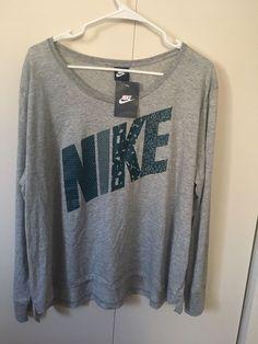 NIKE WOMENS LOGO SPORTSWEAR LONG SLEEVE TOP SHIRT size L $35 NWT  | eBay