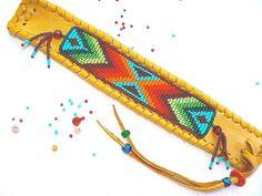 Beaded Deerskin Leather Bracelet Native by TribalVibesLeather, $58.00