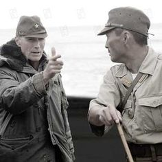 This photo was taken on the set of the film Letters from Iwo Jima The director Clint Eastwood (left) can be seen directing actor Ken Watanabe (right) on the set. It is a Japanese-American war. Clint Eastwood Pictures, Clint And Scott Eastwood, Japanese American, American War, Iwo Jima, War Film, Hollywood Men, Best Director, Celebrity Gallery