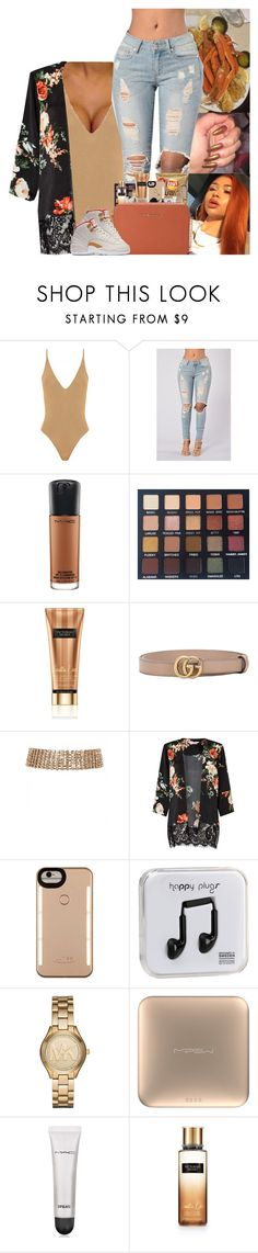 """"" by kennisha84 ❤ liked on Polyvore featuring MAC Cosmetics, Laura Lee, Victoria's Secret, Gucci, Miss Selfridge, LuMee, Happy Plugs, Michael Kors, MiPow and M.A.C"