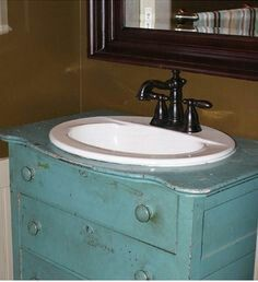 Shabby Bathroom...distressed Blue Dresser Turned Into A Cabinet, Lovely  Blue Painted Vintage Mirror, New Vessel Sink...old Meets The New...beautifuu2026
