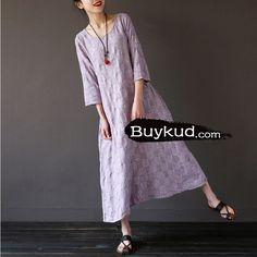 Women purple summer cotton linen loose dress