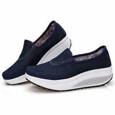 Navy canvas slip on rocker bottom shoe sneaker | Womens rocker shoes online 1700WS