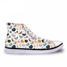 Colorful Cats High Top Canvas Shoes. Love the color combination of baby blue, yellow, grey, and black! Very easy to mix and match with jeans or leggings!