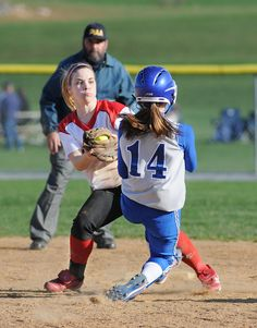 Annville-Cleona's Casey Ditzler tags Cedar Crest's Kayla Seyfert out on second during Tuesday night's game at Cedar Crest. Annville-Cleona beat Cedar Crest 7-5. LEBANON DAILY NEWS - ASHLEY WALTER