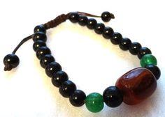 Ajustable con cuentas Pulsera: negro verde marrón.