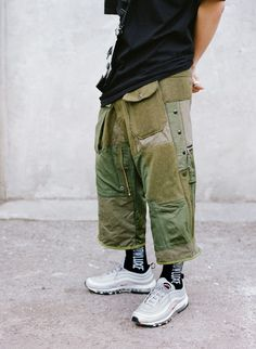 Tyler Hayward - Waley made some insane pants out of 2 military. Military Fashion, Mens Fashion, Jeans, Fashion Details, Fashion Design, Men's Collection, Work Wear, Casual, Sportswear