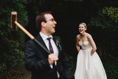 bride and groom wedding portrait croquet garden games. Outdoor wedding