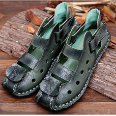 SOCOFY Large Size Vintage Hollow Out Leather Soft Breathable Flat Hool Loop Shoes