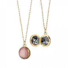18K Yellow Gold Petite Round Double-Sided Rose Quartz over Mother of Pearl Stone Locket  http://rstyle.me/~19uUf