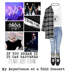 """""""My Experience at a 5SOS Concert"""" by alexamc5sos ❤ liked on Polyvore featuring Topshop, Vans and DKNY"""