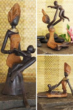 These joyful bronze sculptures are cast from solid bronze in Burkina Faso using the lost wax method.  A one-of-a-kind work of art, each sculpture beautifully celebrate the bond between mother and child.