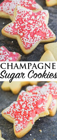 This easy CHAMPAGNE COOKIES recipe is made from scratch and requires only a few simple simple ingredients from your pantry. No chilling necessary. These champagne sugar cookies are decorated with champagne frosting and sprinkles. Perfect dessert for New Year's Eve parties. From cakewhiz.com