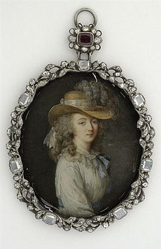 """ miniature Portrait of the Comtesse du Barry Lavreince; (inspired by Louise Élisabeth Vigée Le Brun ) Second half of the century Paris, the Louvre, Department of Graphic Arts "" Marie Antoinette, Madame Du Barry, Miniature Portraits, Miniature Paintings, Hans Holbein The Younger, French Royalty, French History, Ludwig, Art Nouveau"