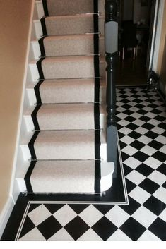 A stunning monochrome combinations of chequered floor tiles and one of our bespoke stairs runners. Supplied and installed by Ben Tasker Flooring Staircase Carpet Runner, Carpet Stairs, Cost Of Carpet, Diy Carpet, Carpet Ideas, Alternative Flooring, Checkered Floors, Modern Hallway, Stair Decor