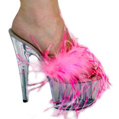 "6"", 7"" or 8"" Karo's Pink Marabou Feathers Shoes w/Clear High Heel Platform and Upper - Sizes 5-14. #0526 