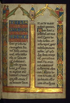 """GOTHIC TEXTURA  - """"Gothic textura, a script developed in the thirteenth century for relatively high-grade books.""""  -  Walters Art Gallery 148, f. 4r, Homiliary, Germany, s. xiv1, Folio 4r."""