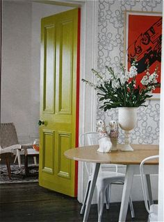 "Similar to this, I added a pop of color to just the edges of my bedroom closet doors and can't wait to add ""secret color"" to my other doors!"